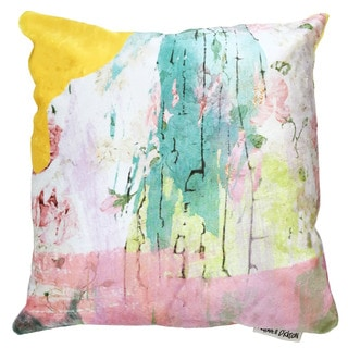 Maxwell Dickson Pink Floral Polyester Throw Pillow