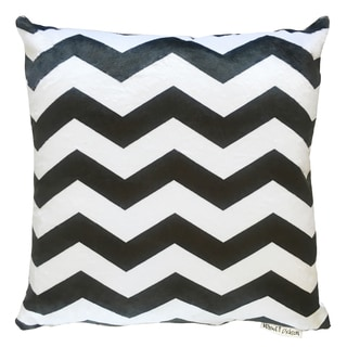 Maxwell Dickson Black and White Polyester Zig-zag Throw Pillow