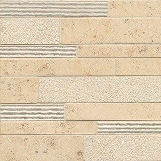 Bedrosians Jura Beige Random Linear Mosaic Stone Tile (Box of 10 Sheets)
