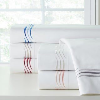 Pointehaven 300TC Cotton Wave Embroidered Deep Pocket Sheet Set