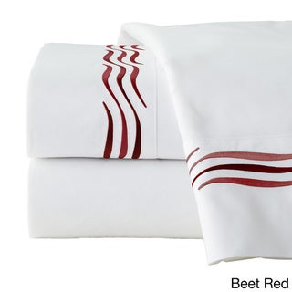 Pointehaven 300TC Cotton Wave Embroidered Deep Pocket Sheet Set