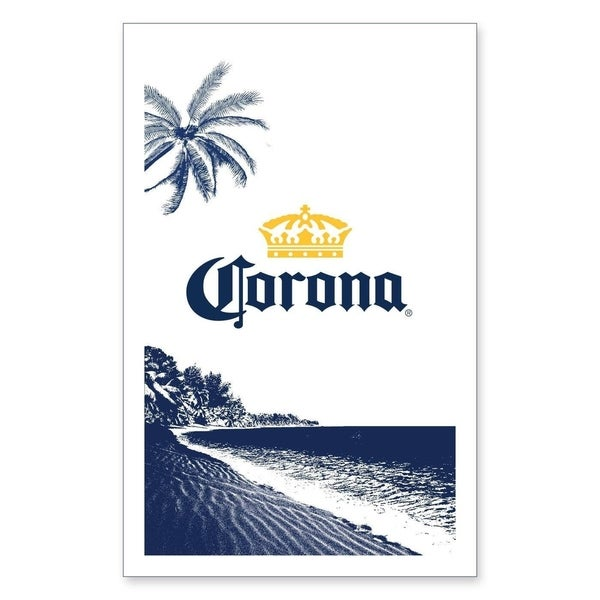 Corona White Cotton Graphic Beach Towel