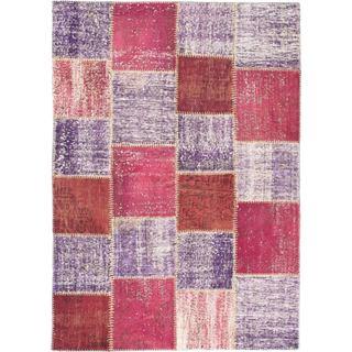 ecarpetgallery Ottoman Yama Purple Wool Handmade Patchwork Rug (5'7 x 7'10)