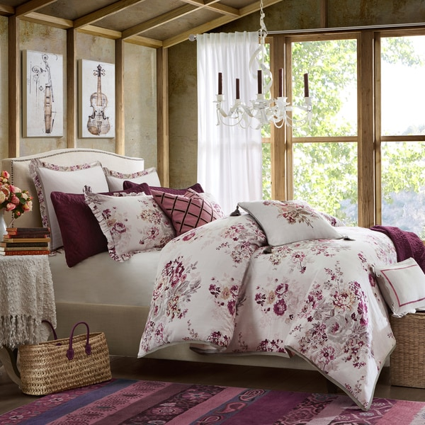 Hampton Hill Vintage Floral Berry Cotton Comforter Set