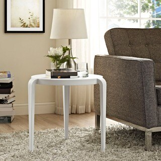 Modway White/Black Polypropylene and Plastic Spin Side Table
