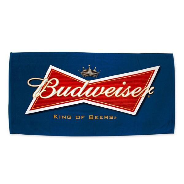 Navy Blue Budweiser Beer Logo Beach Towel