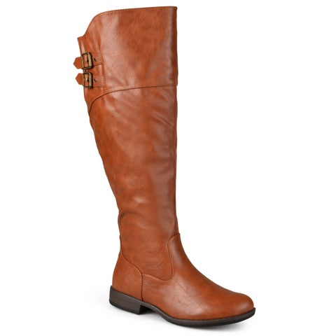 Journee Collection Women's Extra Wide Calf 'Tori' Double-Buckle Knee-High Riding Boot