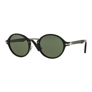Persol Men's PO3129S 95/31 Black Plastic Round Sunglasses