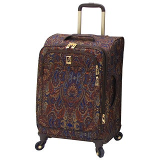 London Fog Soho Collection Brown Polyester 21-inch Expandable Carry-on Spinner Upright Suitcase