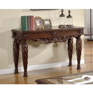 Best Master Furniture Cherry Finish Marble Top Console Table