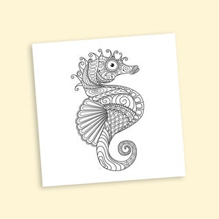 Seahorse Coloring 20-inch Repositionable Wall Decal Sea Horse