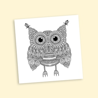 Awesome Owl Coloring 20-inch Repositionable Wall Decal