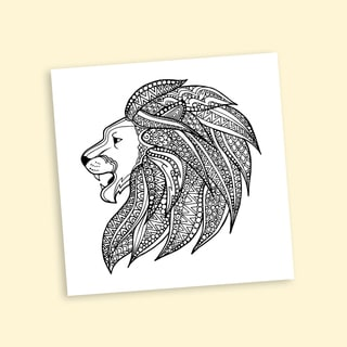 Lion Mane Coloring 20-inch Repositionable Wall Decal