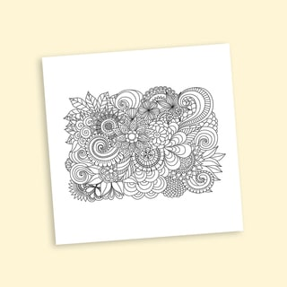 Floral Group Coloring 20-inch Repositionable Wall Decal