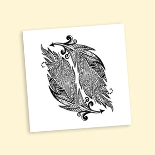 Inverse Feathers Coloring 20-inch Repositionable Wall Decal