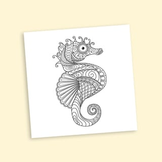 Seahorse Coloring 16 x 16 Inches Repositionable Wall Decal