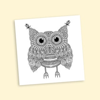 Awesome Owl Coloring 16 x 16 Inches Repositionable Wall Decal