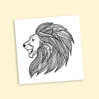 Lion Mane Coloring 16 x 16 Inches Repositionable Wall Decal