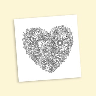 Intricate Heart Coloring 16 x 16 Inches Repositionable Wall Decal