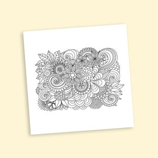 Floral Group Coloring 16 x 16 Inches Repositionable Wall Decal