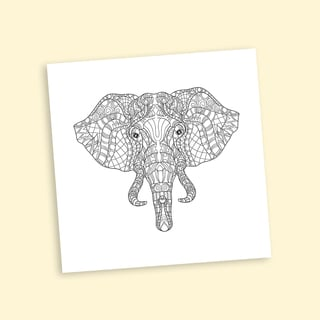 African Elephant Coloring 16 x 16 Inches Repositionable Wall Decal