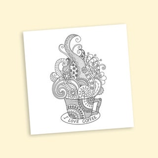 Whimsical Coffee Coloring 16 x 16 Inches Repositionable Wall Decal
