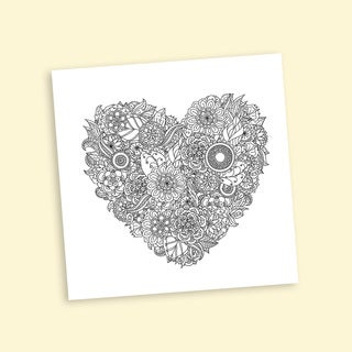 Intricate Heart Coloring 12-inch Repositionable Wall Decal