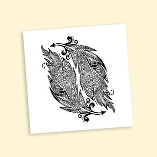 Inverse Feathers Coloring 12-inch Repositionable Wall Decal