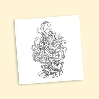 Whimsical Coffee Coloring 12-inch Repositionable Wall Decal
