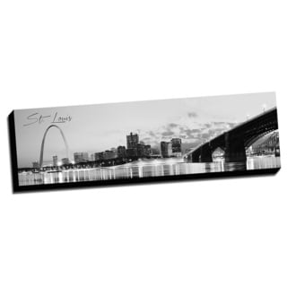 B&W Panoramic Cities St Louis Printed Framed Canvas