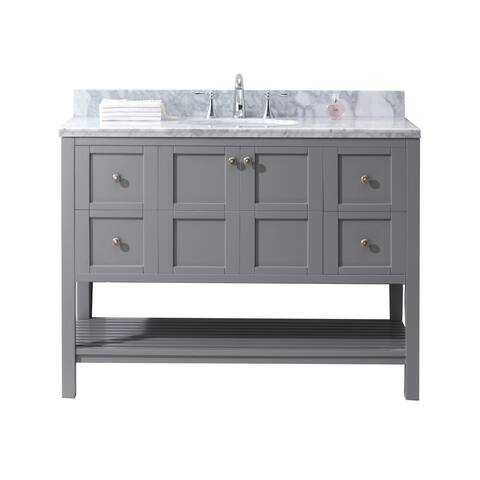 Winterfell 48-in Single Sink Vanity White Marble Top