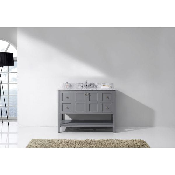 Virtu USA Winterfell 48 Inch White Marble Single Bathroom Vanity Set  Without Mirror