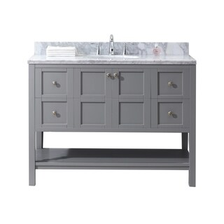 Virtu USA Winterfell 48-inch White Marble Single Bathroom Vanity Set without Mirror