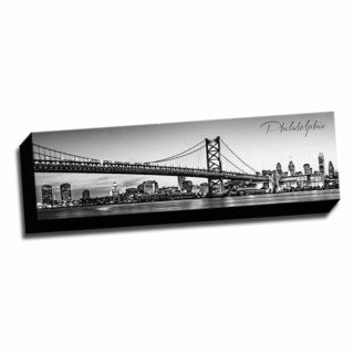 B&W Panoramic Cities Philadelphia Printed Framed Canvas