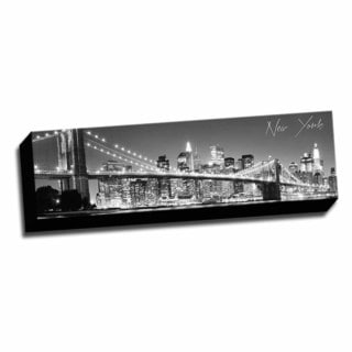 B&W Panoramic Cities New York 2 Printed Framed Canvas