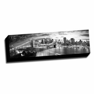 B&W Panoramic Cities New York 1 Printed Framed Canvas