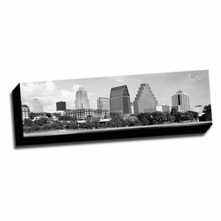 B&W Panoramic Cities Austin Printed Framed Canvas