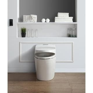 Ove Decors Godfrey White 1-piece 1.6 GPF Elongated Smart Toilet and Bidet