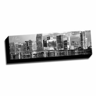 B&W Panoramic Cities Miami Printed Framed Canvas