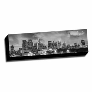 B&W Panoramic Cities Los Angeles Printed Framed Canvas