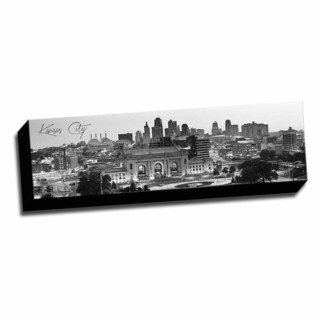 B&W Panoramic Cities Kansas City Printed Framed Canvas
