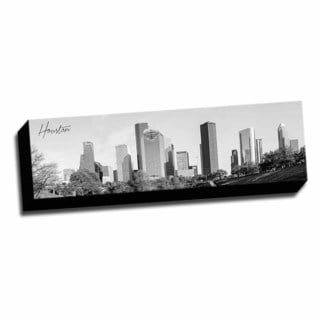 B&W Panoramic Cities Houston Printed Framed Canvas