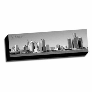 B&W Panoramic Cities Detroit Printed Framed Canvas