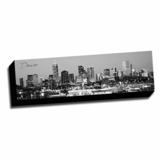 B&W Panoramic Cities Denver Printed Framed Canvas