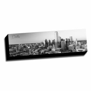 B&W Panoramic Cities Dallas Printed Framed Canvas