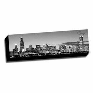 B&W Panoramic Cities Chicago Printed Framed Canvas