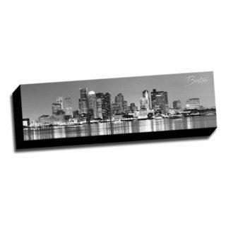 B&W Panoramic Cities Boston Printed Framed Canvas