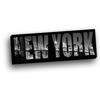 Panoramic View of New York Behind City Name Wall Decor