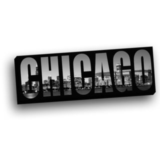 Panoramic View of Chicago Behind City Name Wall Decor