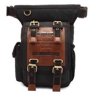 Kaukko Unique Vintage Black Canvas Waist Backpack/Motorcycle Bag